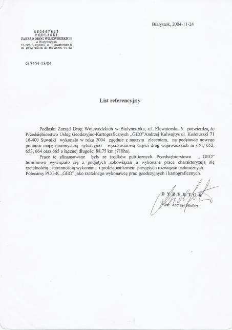 pzdw referencje geodeta warmińsko mazurskie