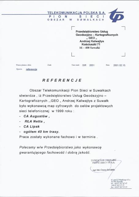 tpsa2 usługi geodezyjne referencje